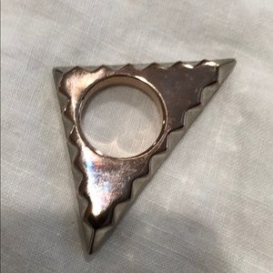 House of Harlow rose and silver triangle ring